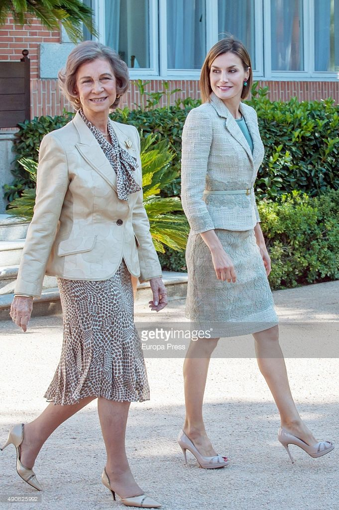 Queen Letizia of Spain (R) and Queen Sofia attend audiences with the communication media of FAD (Foundation Against Drug adicction) at Zarzuela Palace on September 29, 2015 in Madrid, Spain.