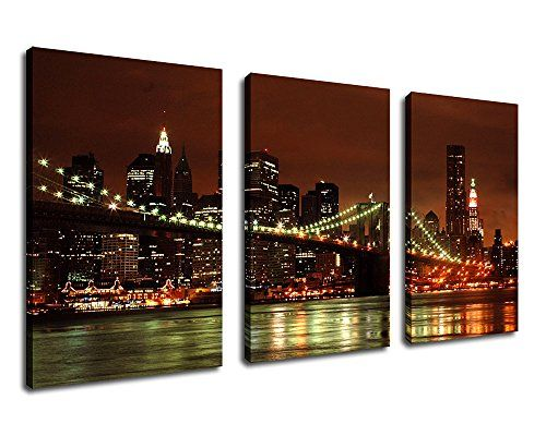 Home decor wall art canvas prints brooklyn bridge print on canvas new york city skyline canvas art large 3 pieces nyc night view painting pictures artwork