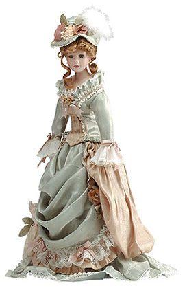 1:12 Dollhouse Victorian Lady Lace Dress Miniature People Porcelain Doll