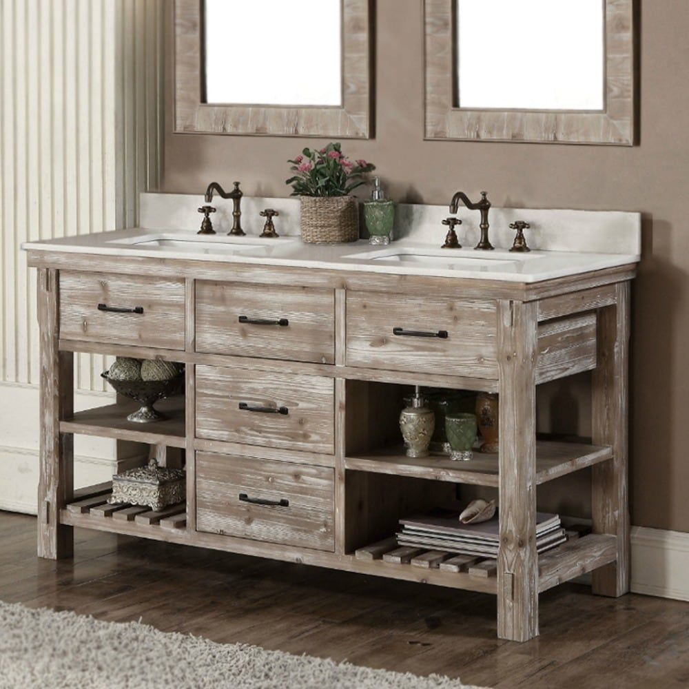 Rustic Style 60 Inch Double Sink Bathroom Vanity 60 Quartz White