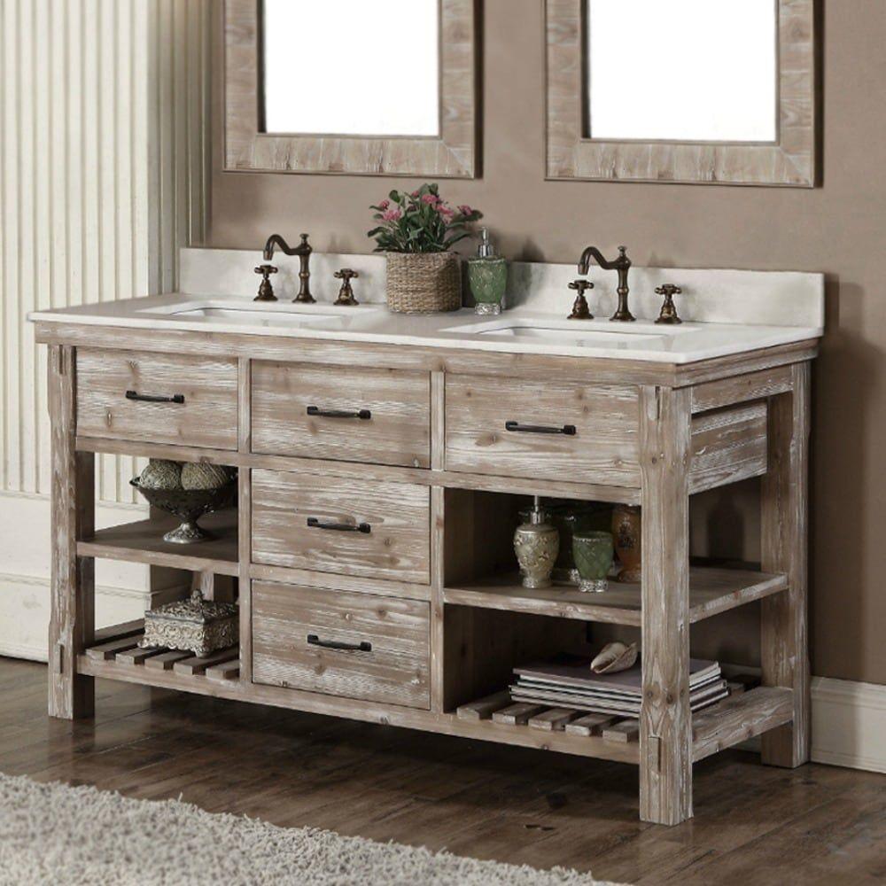 rustic style 60 inch double sink bathroom vanity in 2020 on vanity for bathroom id=84492