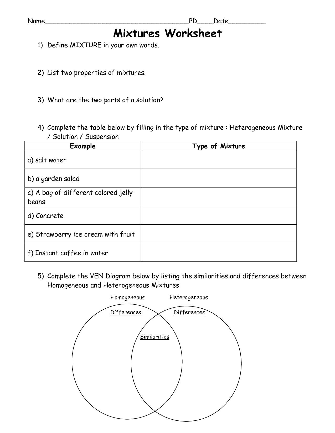 Worksheets Mixtures And Solutions Worksheets types of mixtures worksheet sharebrowse collection sharebrowse