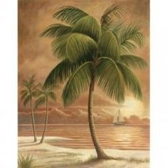 Beau 6 Tropical Palm Tree Art Prints Beachy Feel Home Decor