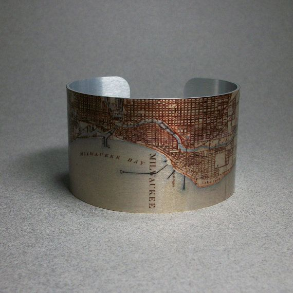 Milwaukee Wisconsin Map Cuff Bracelet Unique Gift For Men