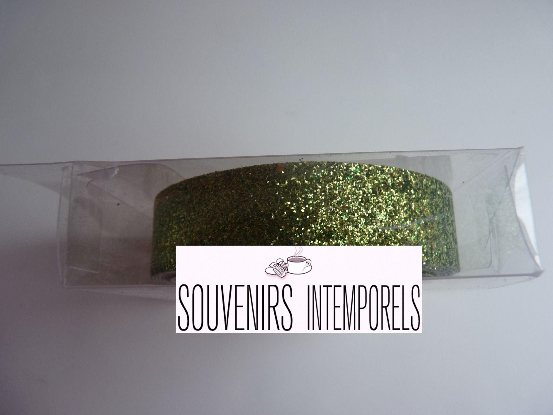 1 rouleau de glitter tape ruban adhésif non repositionnable à paillettes coloris vert clair : Stickers, autocollants par souvenirs-intemporels