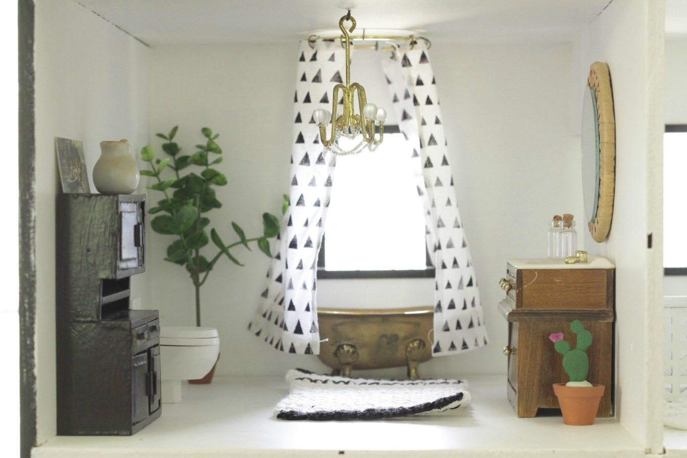 Dollhouse Therapy Month 1 Room Reveals: Living Room & Bathroom ...