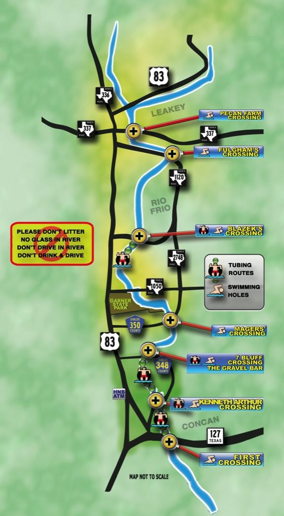 Floating The Frio River Frio River Tubing Map Routes