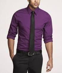 Look #3 Purple shirt / Black pants | Purple dress shirt ...