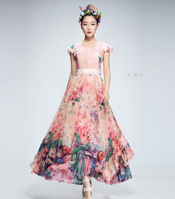 Bohemian pink floral print a line dress full pleated beach for Floral beach wedding dresses