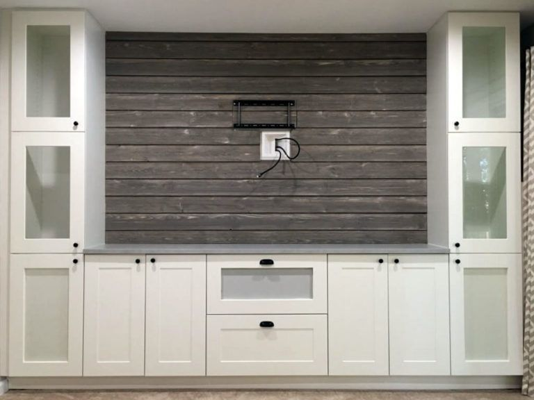Shiplap Entertainment Center from IKEA kitchen cabinets images