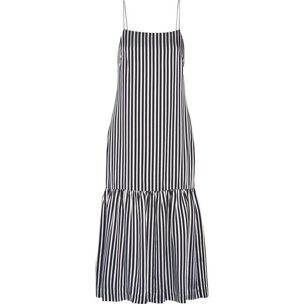 Elizabeth and James Jewel striped satin and crepe midi dress (4.785 NOK) ❤ liked on Polyvore featuring dresses, midi day dresses, slimming dresses, stripe midi dress, satin dress and elizabeth and james