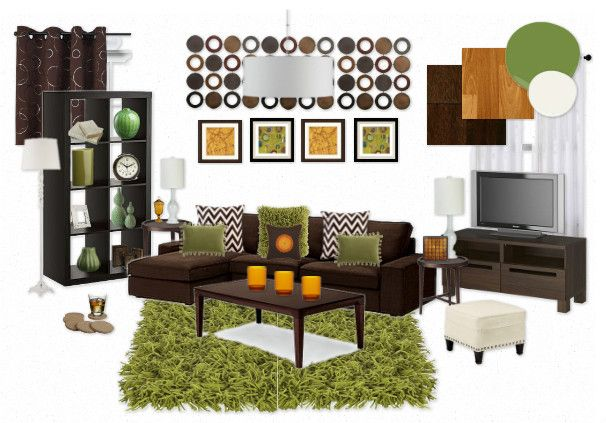 Living room inspiration board green brown orangey brown - Brown and green living room accessories ...