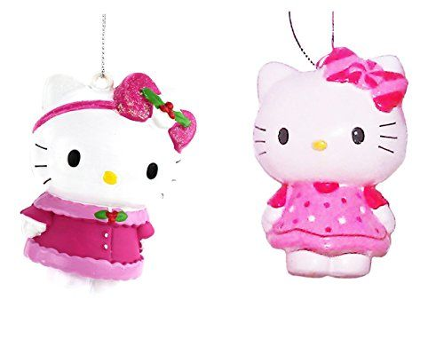Hello Kitty Candy Bow Blow Mold Christmas Ornament Set of