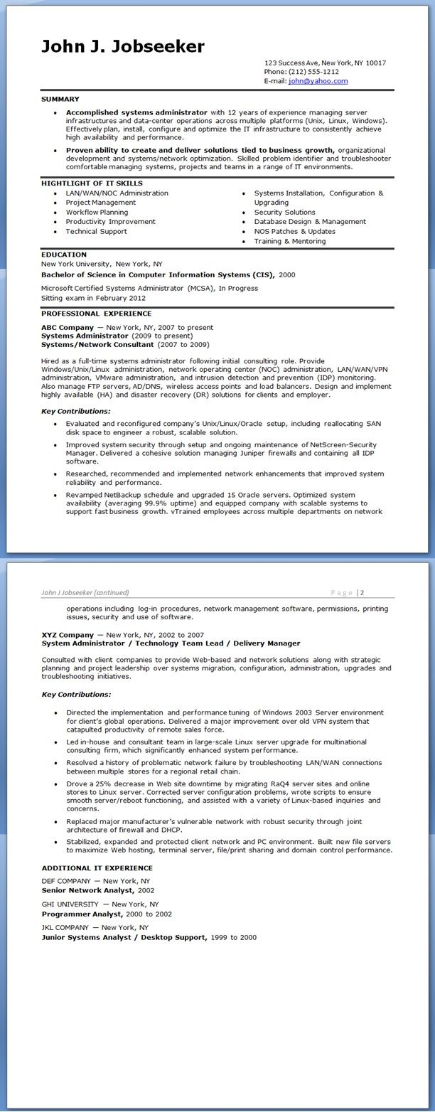 System Administrator Resume Sample Experienced System Administrator Resume Examples Resume