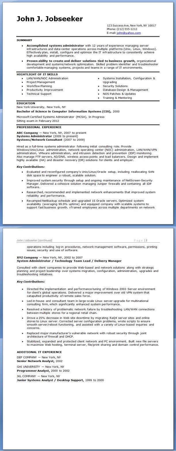 System Administrator Resume Sample (Experienced) | Creative Resume ...