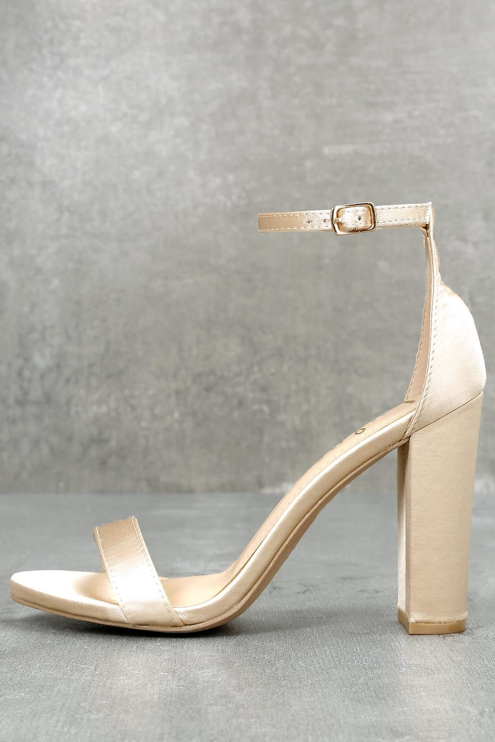 Taylor Champagne Satin Ankle Strap Heels In 2019 Ankle