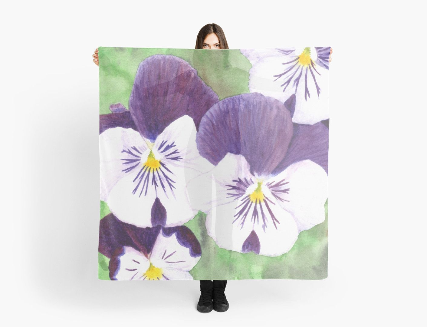 White And Purple Pansies Flowers Scarf By Savousepate Art