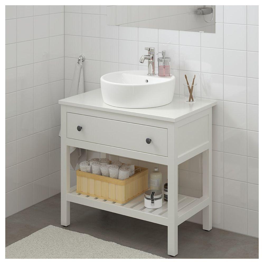 Hemnes Tornviken Open Sink Cabinet With 17 Sink White Voxnan Faucet 32 1 4x18 7 8x35 3 8 Ikea White Vanity Bathroom Hemnes Basin White