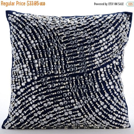 16x16 Designer Navy Blue Throw Pillow Cover Etsy Navy Blue Throw Pillows Blue Throw Pillow Cover Navy Blue Pillows