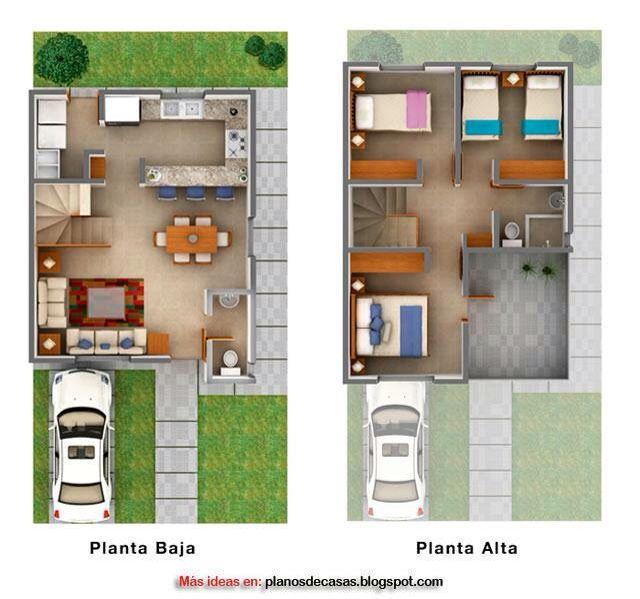 Plano 3D Casa Dos Pisos #DecoracionconPlantas | Decoracion Con Plantas |  Pinterest | Casas Dos Pisos, Planos 3d Y Dos Pisos