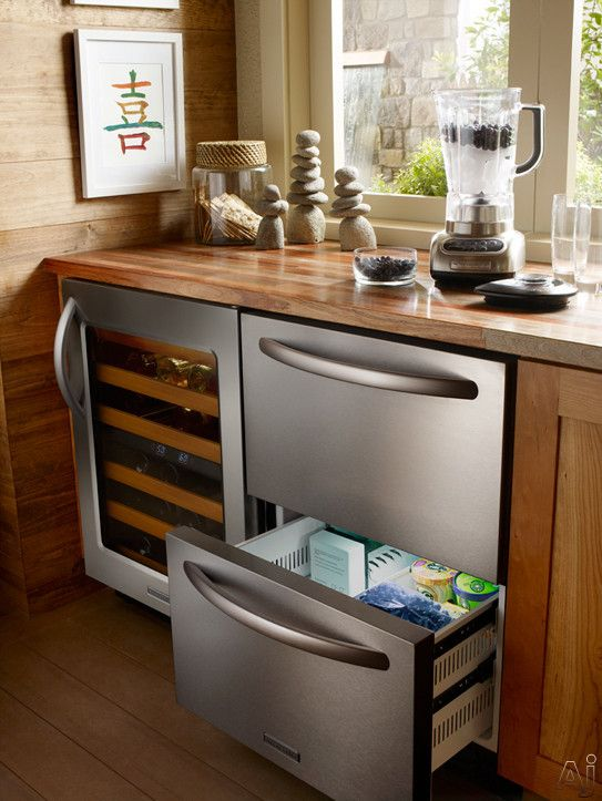 Kitchenaid Kddc24cvs 24 Built In Double Drawer Refrigerator Freezer With 4 8 Cu Ft Capacity Max Cool Ice Maker Interior Led Lights