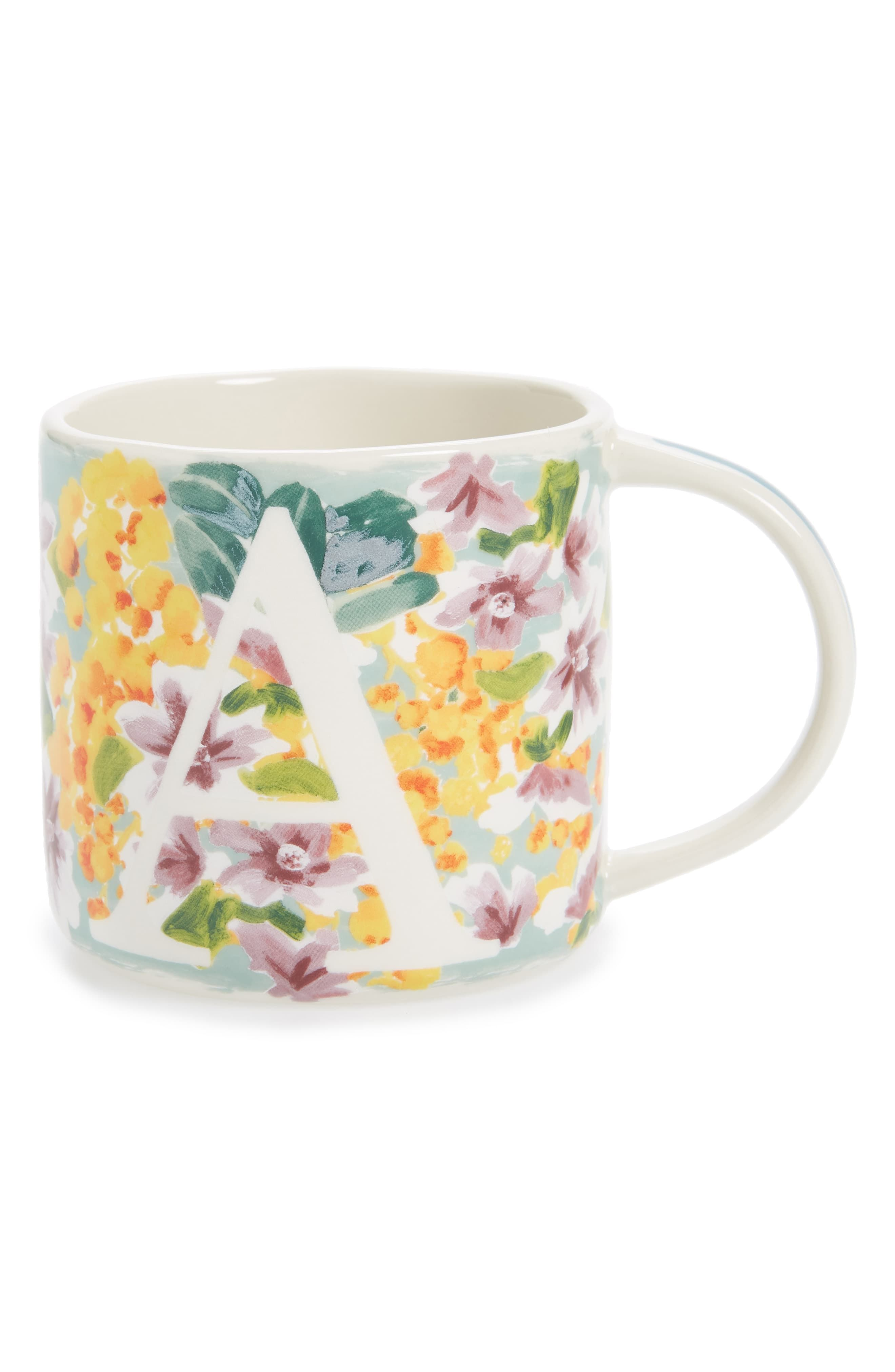 Anthropologie Home Dawn Monogram Mug Size One Size White In 2020 Anthropologie Mugs Mugs Monogram Coffee Mug