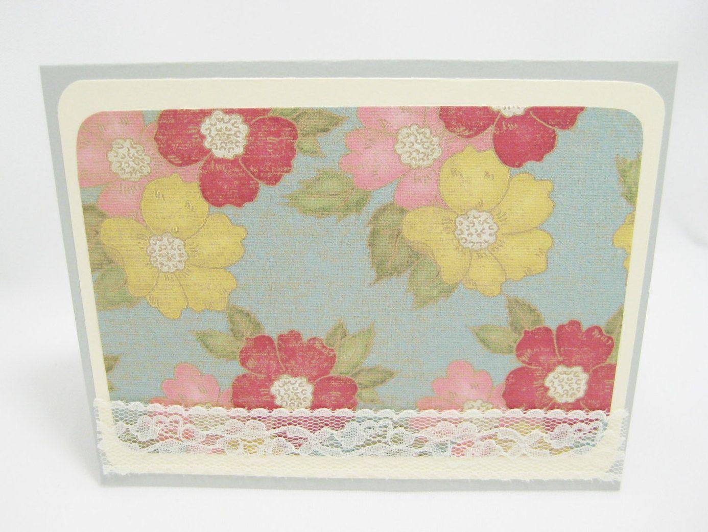 Shabby Lace Blank Card Handmade Blank Flower Card Birthday Card