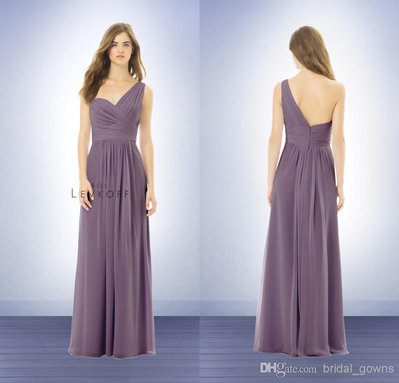 One Shoulder 2014 A Line Coral Floor Length Bridesmaid Dresses Party ...