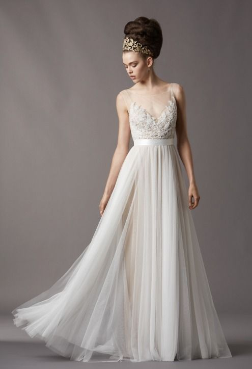 af8d4f66893 New Watters Wedding Dresses: Loads of Awesome Options for Brides Who Dont  Want to Go Strapless! (Pardon the Marge Simpson Hair)