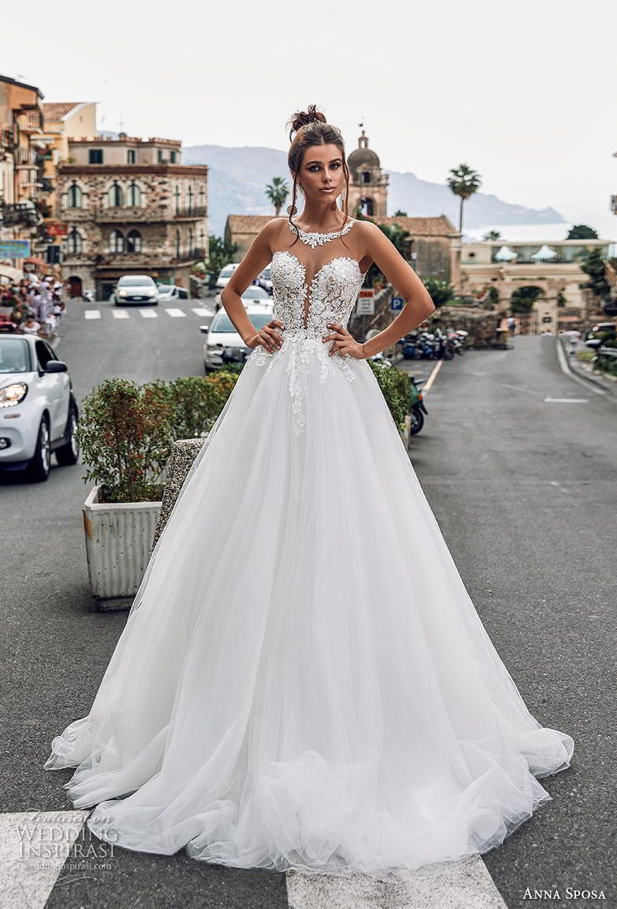 5ccac060320f anna sposa 2019 bridal sleeveless illusion jewel plunging sweetheart  neckline heavily embellished bodice romantic a line wedding dress sheer  button back ...