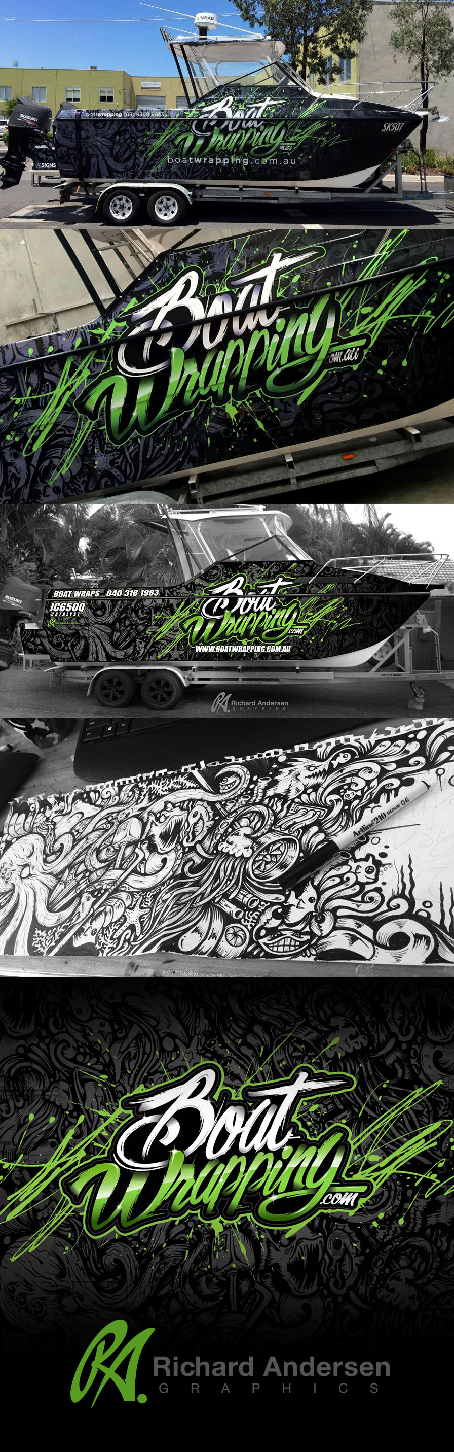 Boat wrap designed by Richard Andersen - Graphics, full hand drawn background