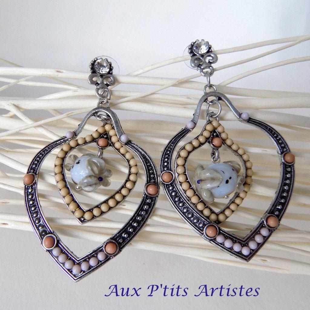 """paire de boucles d'oreilles, """"Belle"""" de la boutique AuxPetitsArtistes2 sur Etsy"""