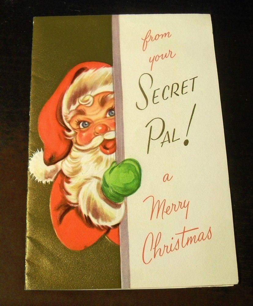 Vtg hawthorne sommerfield greeting card christmas secret santa vtg hawthorne sommerfield greeting card christmas secret santa embossed unused m4hsunfo