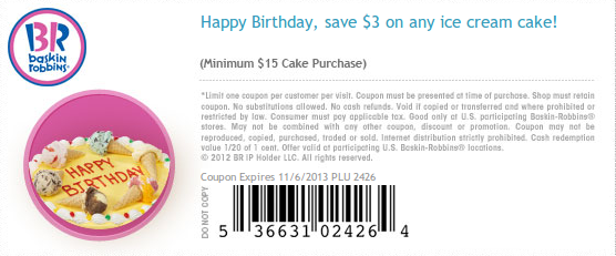 Https Twitter Com Baskincoupons 3 Baskin Robbins Coupons Cake