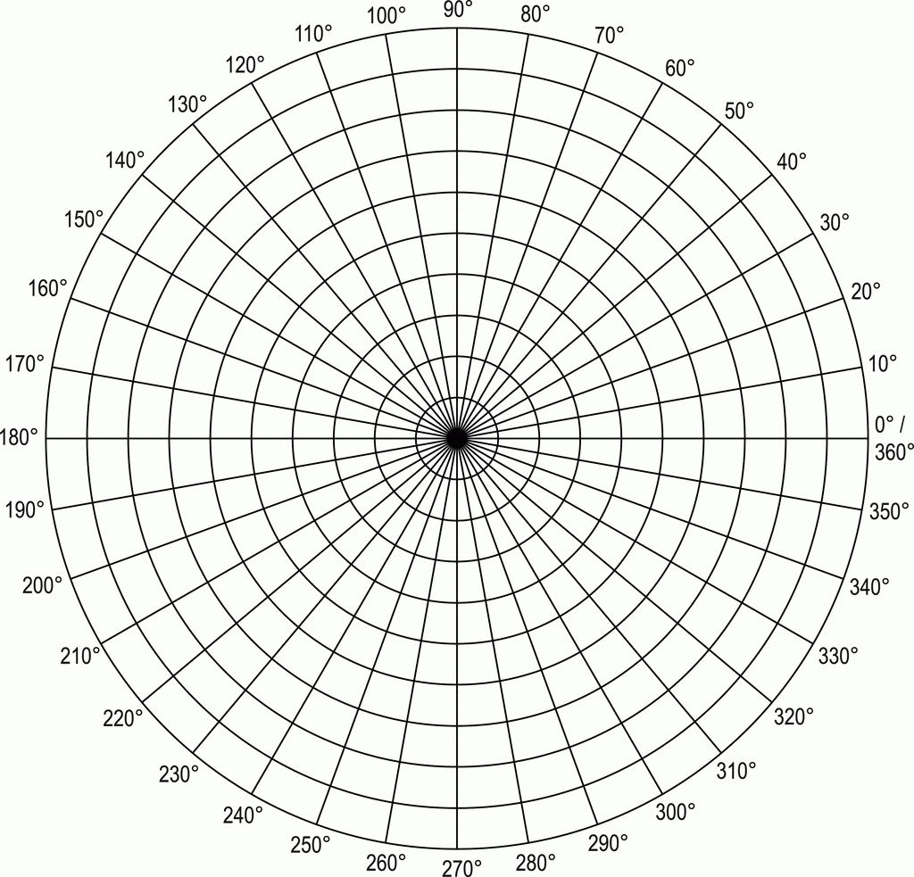 Polar Coordinate Graph Paper Grid In