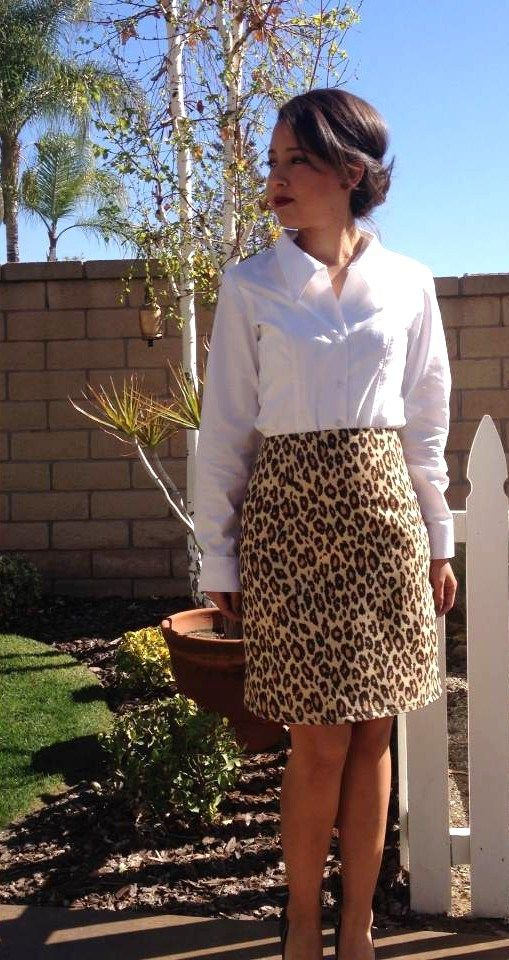 leopard pencil skirt - with pink satin lining.
