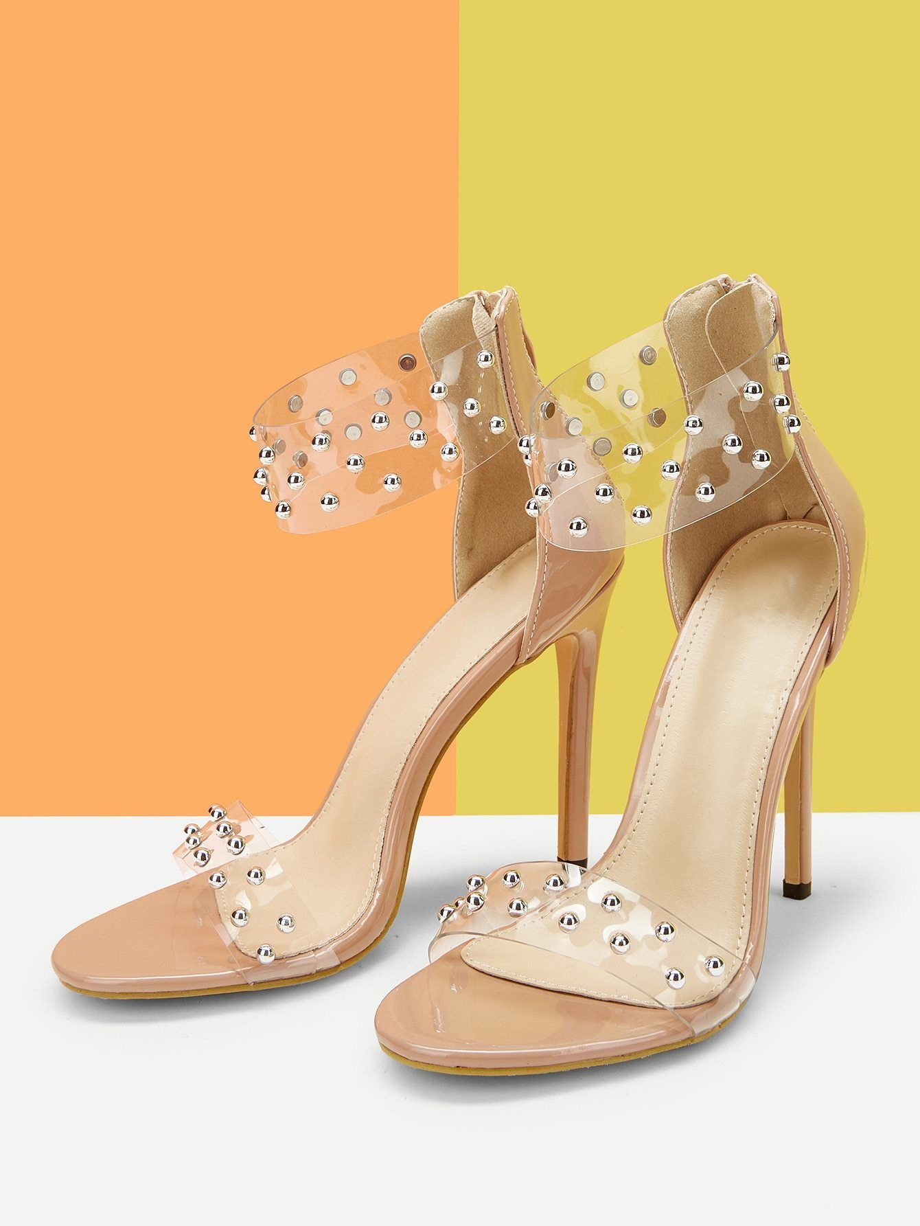 9049a1f995f Studded Decor Clear Band Stiletto Heels in 2019 | Heels Pumps ...
