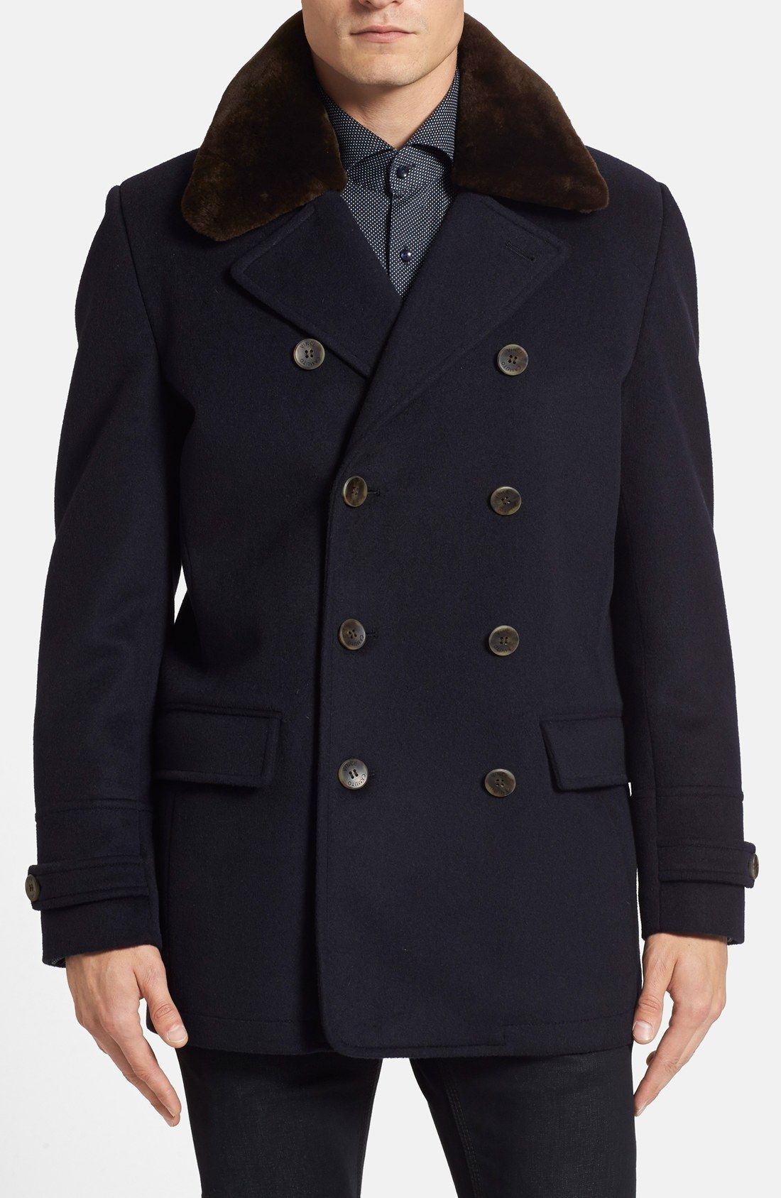Vince Camuto Water Repellent Peacoat With Removable
