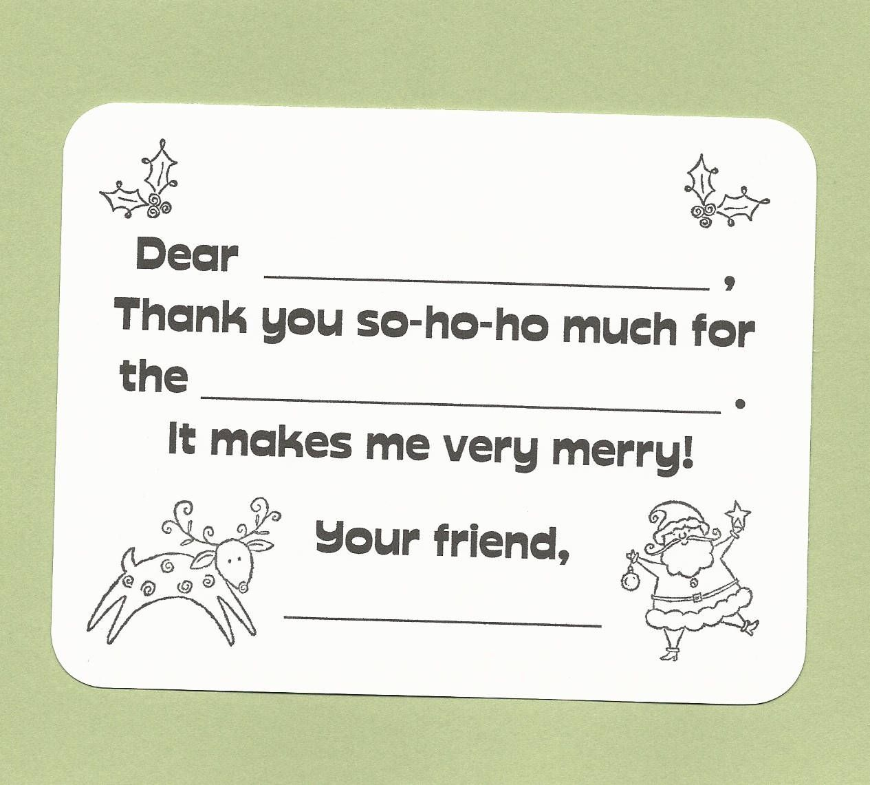 color your own christmas thank you cards fill in the blank cards