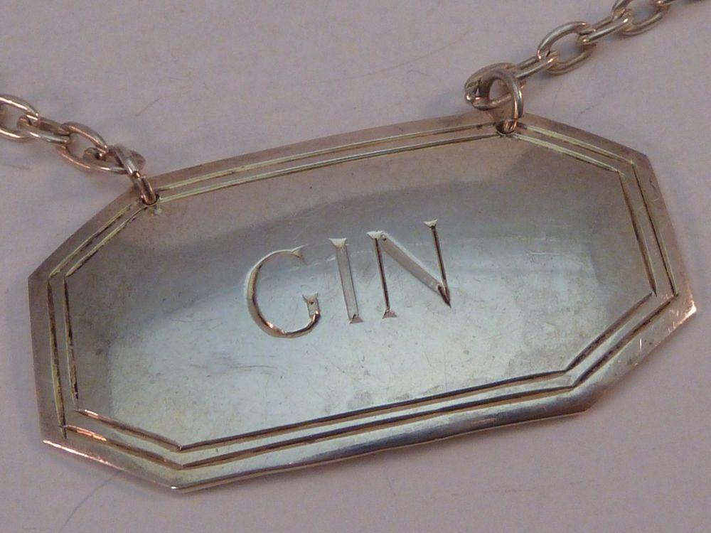 Vintage Sterling Silver Gin Tag Label Liquor Bottle Decanter Richards & Knight #RichardsKnight