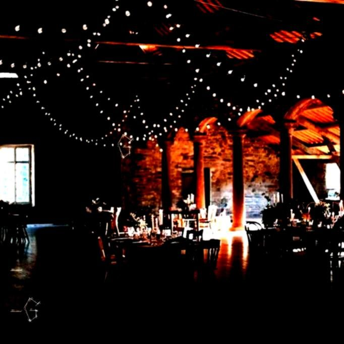 ceiling  Guinguette garland ceiling   FYWI 50 Weddings Across 50 States That Showcase US Wedding Style  Alice  JeanBaptiste   Barn Wedding Reception Market lighting for r...