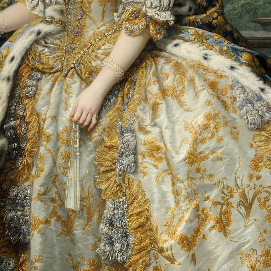Detail of Marie Leszczinska, Queen of France, 1747, by Charles-André van Loo (1705-1765)