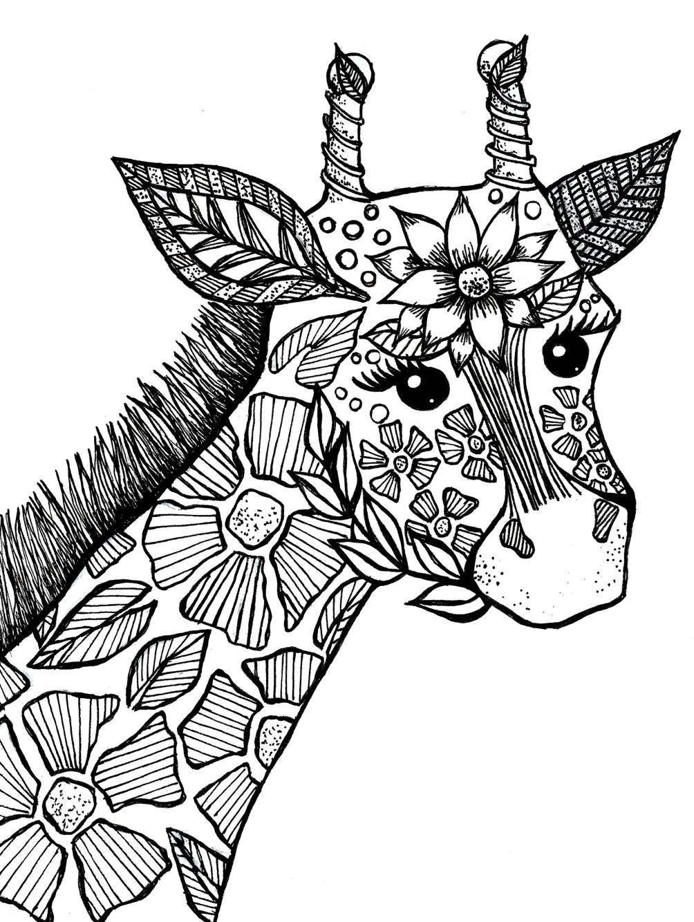 Giraffe Adult Coloring Book Page