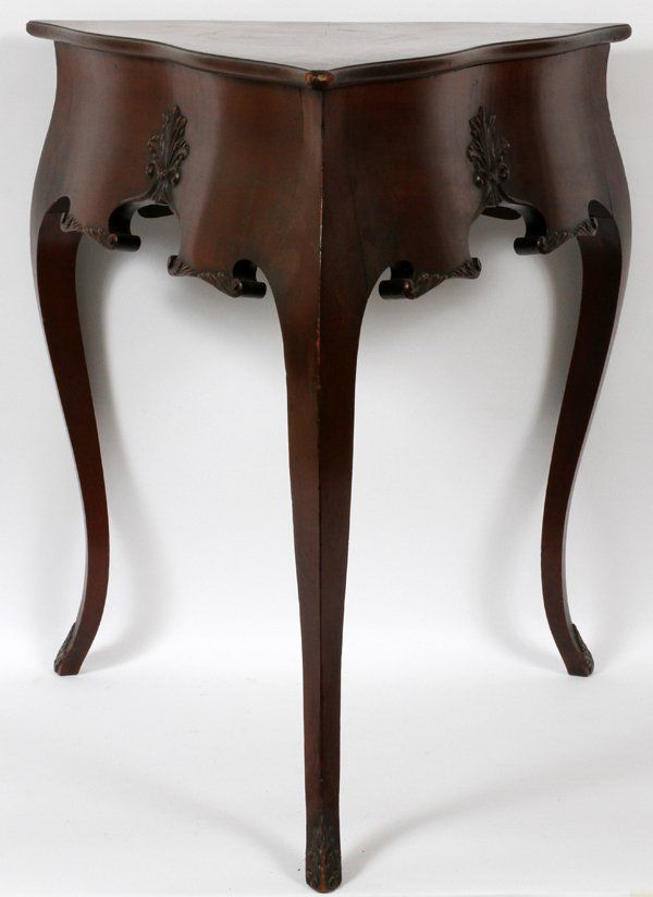 S. RITTER, ROCHESTER NY, TRIANGULAR CORNER MAHOGANY TABLE: - S. RITTER, ROCHESTER NY CORNER MAHOGANY TABLE On Corner Furniture