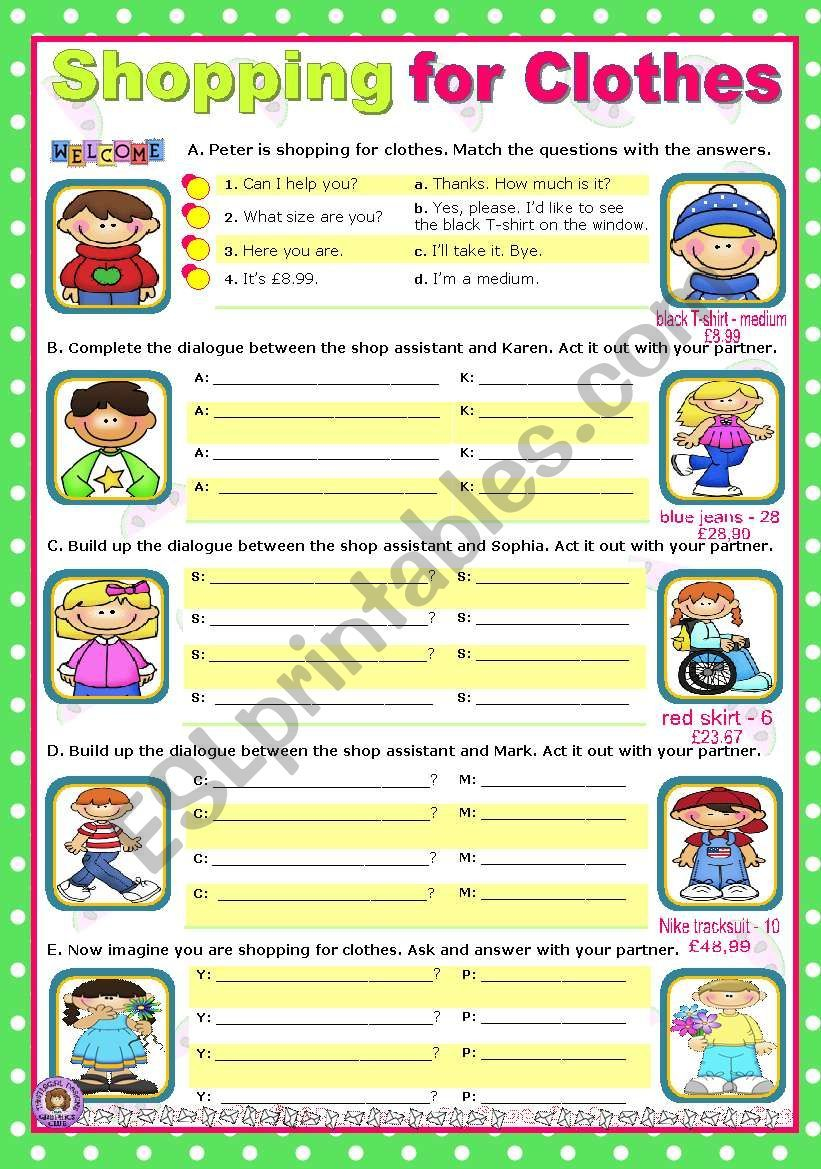 Kids Go Shopping For Clothes They Match The Questions To The Answers Can I Help You What Size Are Yo Classroom Pictures Teaching Time Vocabulary Worksheets [ 1169 x 821 Pixel ]