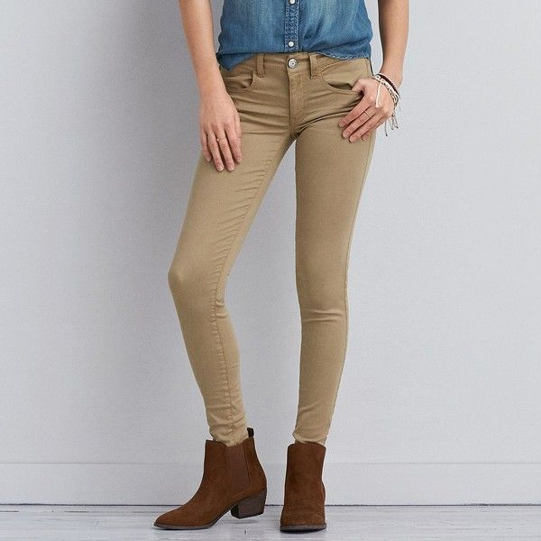 AEO Sateen X Jegging (Jeans) ($30) ❤ liked on Polyvore featuring jeans, khaki, jeggings jeans, long jeans, vintage jeans, khaki jeggings and american eagle outfitters jeggings