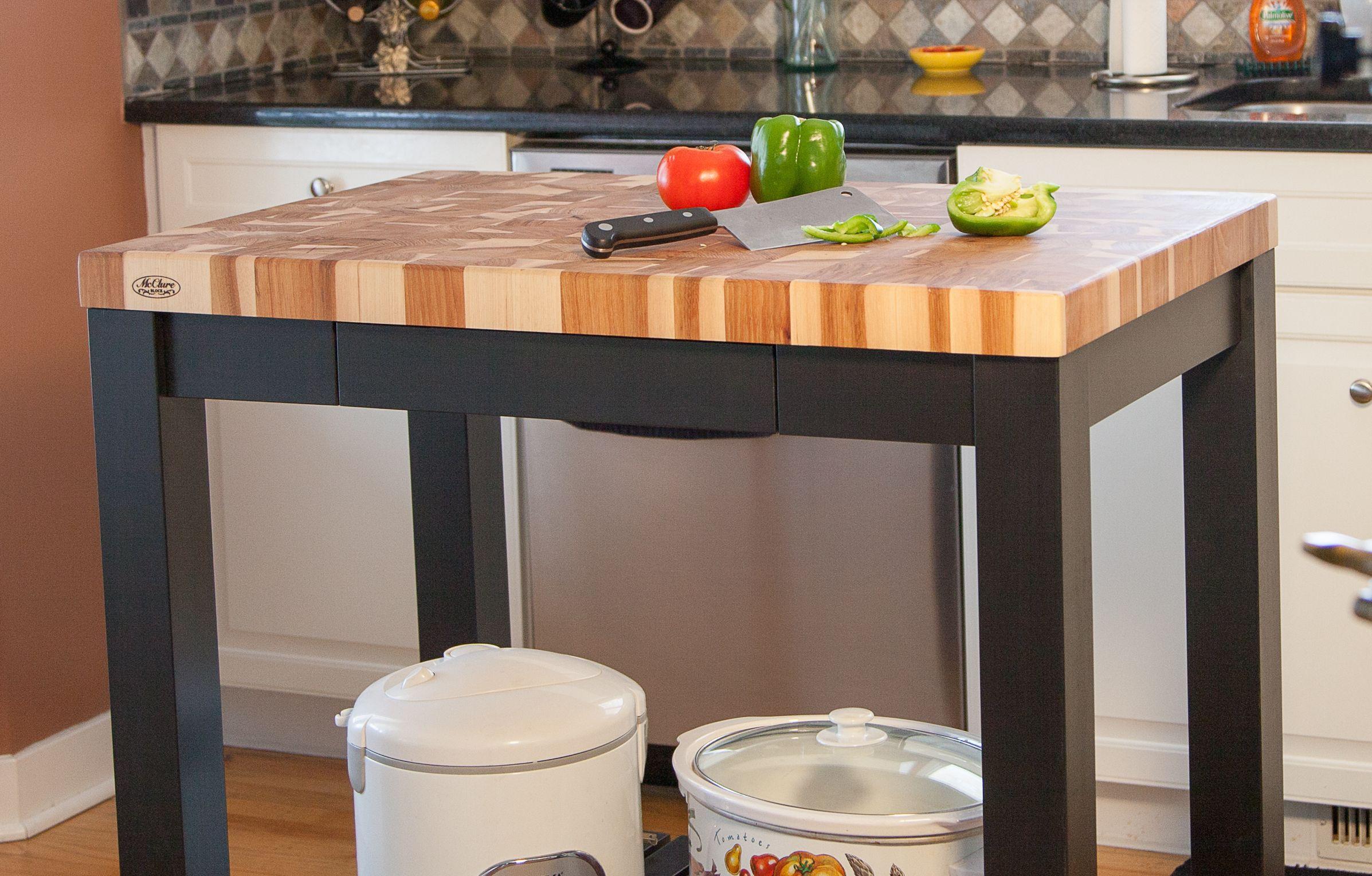 Maple end grain butcher block counter black kitchen island cart
