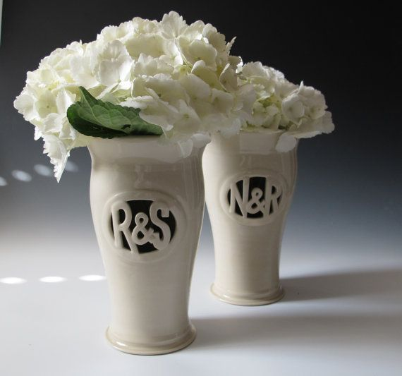 Monogram Vase With Initials With Ampersand Hand By Maidofclay