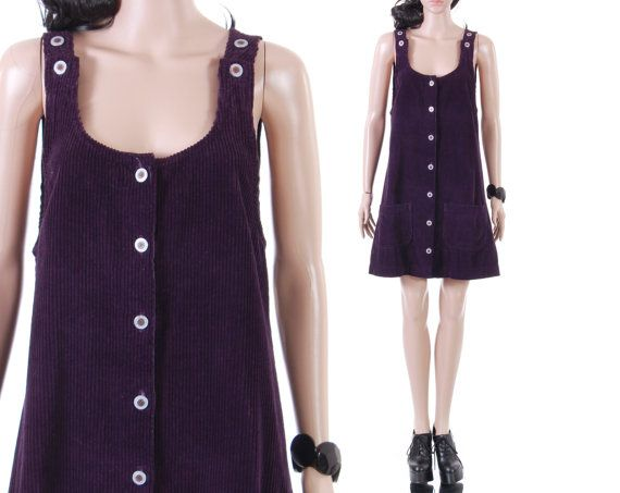 3ef1cf9bed 90s Purple Corduroy Jumper Dress Short Wide Wale Overall Schoolgirl Grunge  Hipster A-Line Summer Vintage Clothing Womens Size Large