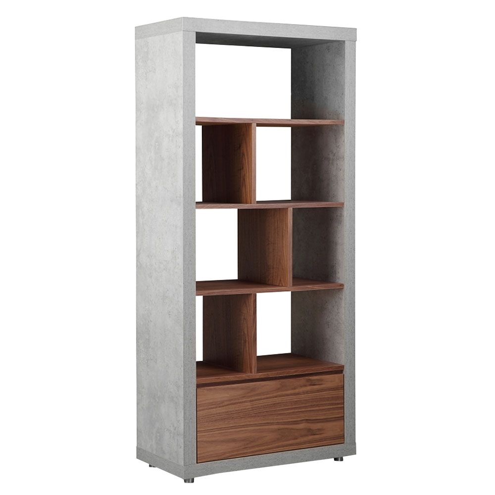 Halmstad Bookcase Concrete And Walnut Bookcases Living Room